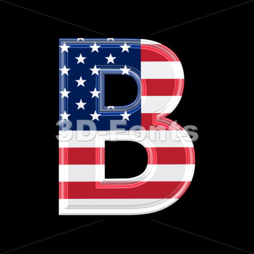 Capital US letter B – Upper-case 3d font