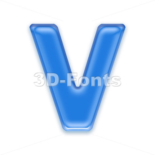 Capital blue jelly letter V – Upper-case 3d character