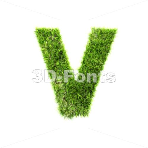 Capital green grass letter V – Upper-case 3d character