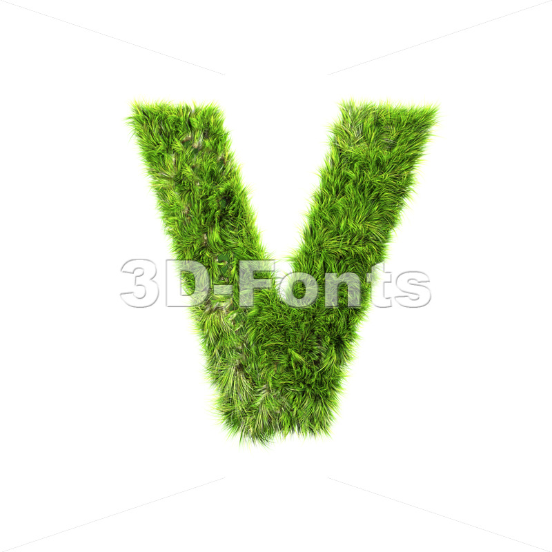Capital green grass letter V – Upper-case 3d character