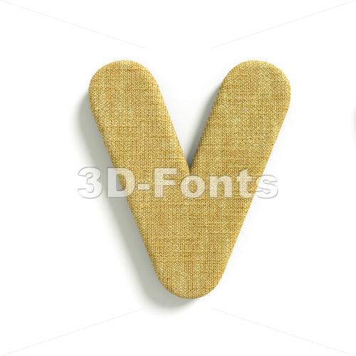 Capital jute letter V – Upper-case 3d character