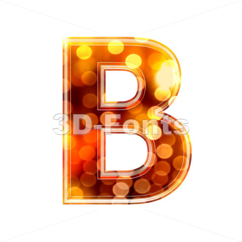 Capital orange lights letter B – Upper-case 3d font