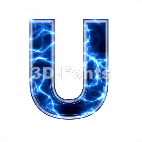 Electric 3d letter U - Capital 3d font - 3d-fonts.com