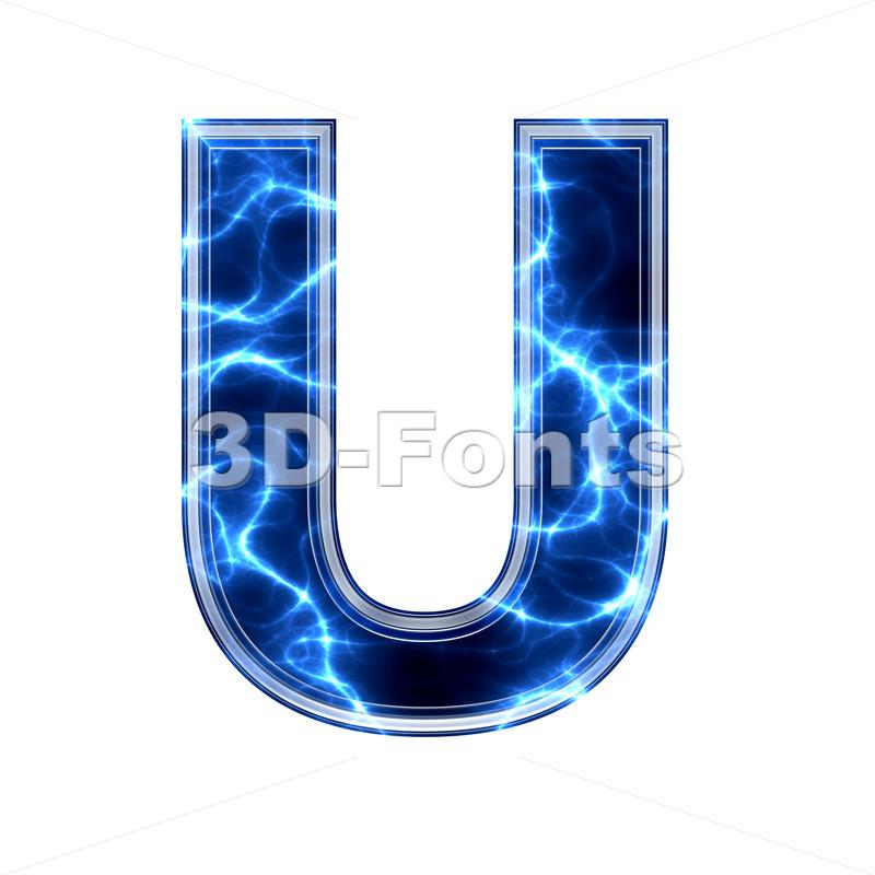Electric 3d letter U - Capital 3d font - 3d-fonts.com