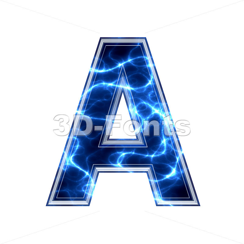 Electric letter A - Capital 3d character - 3d-fonts.com