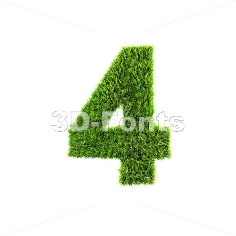 Grass digit 4 – 3d number