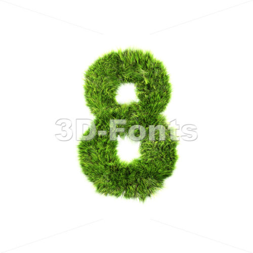 Grass digit 8 – 3d number