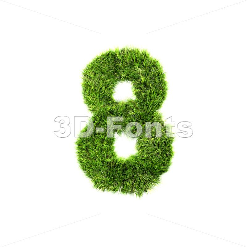 Grass digit 8 – 3d number