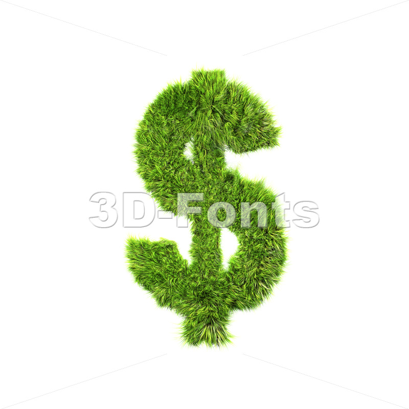 Grass dollar currency sign – 3d money symbol