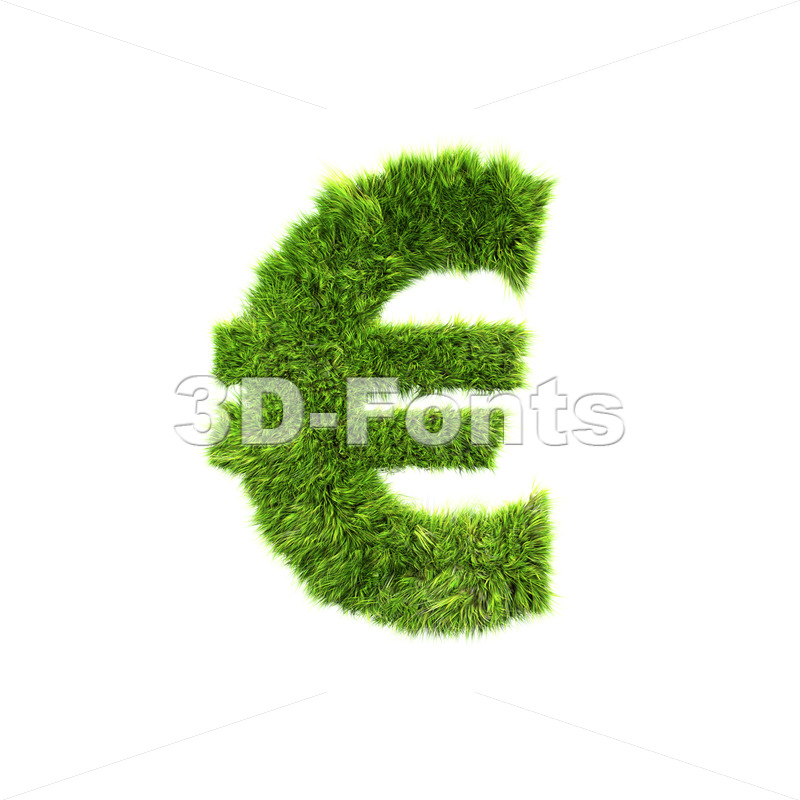 Grass euro currency sign – 3d business symbol