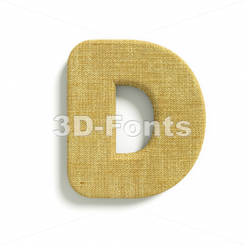 Hessian font D – Capital 3d character