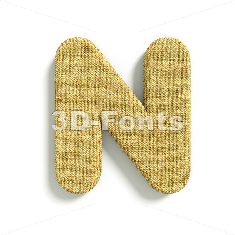 Hessian font N – Capital 3d letter