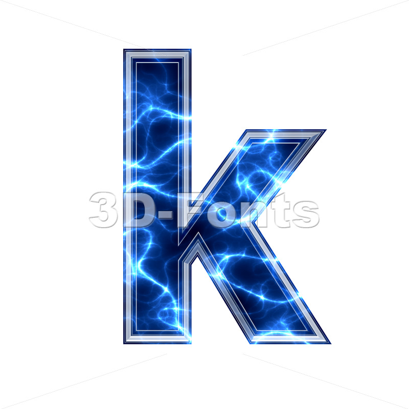 Lower-case Blue power character K – Small 3d letter