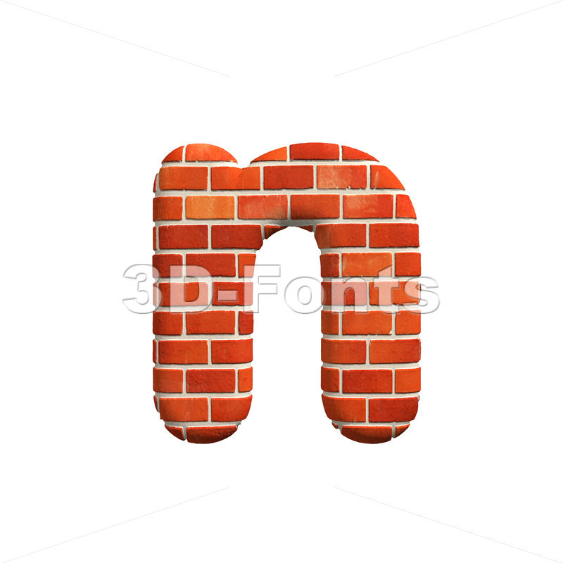 Lower-case Brick wall letter N – Small 3d font