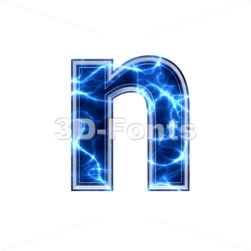 Lower-case Electric letter N – Small 3d font