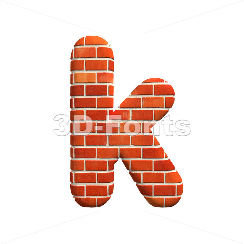 Lower-case Red brick character K – Small 3d letter