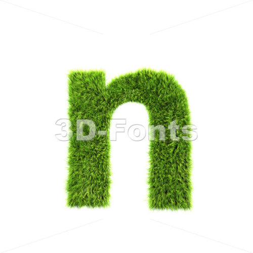 Lower-case green grass letter N – Small 3d font