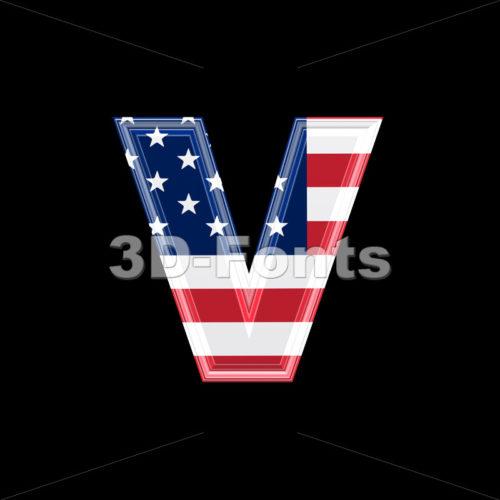 Lowercase American flag font V – Small 3d letter