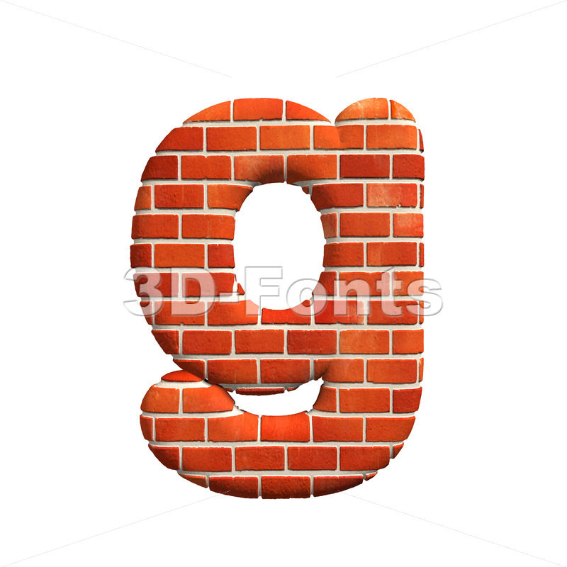 Lowercase Brick wall font G – Small 3d character