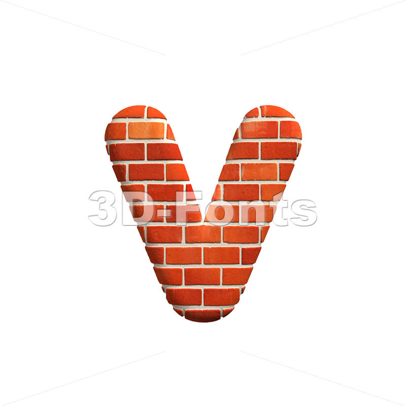 Lowercase Brick wall font V – Small 3d letter