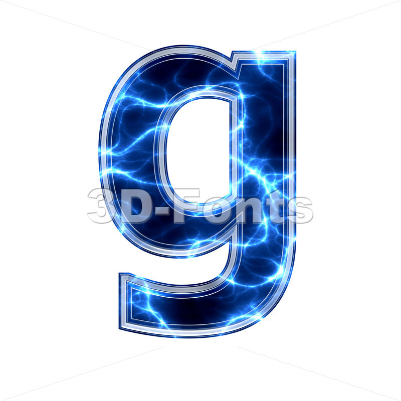 Lowercase Electric font G – Small 3d character