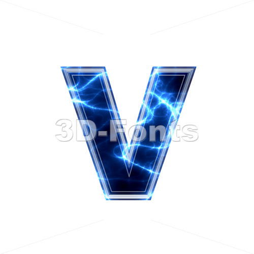 Lowercase Electric font V – Small 3d letter