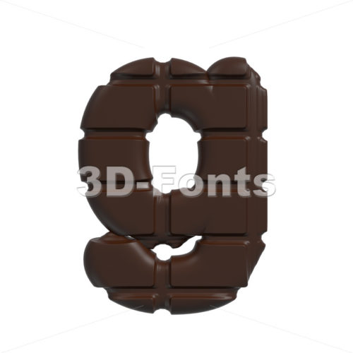 Lowercase cacao font G – Small 3d character