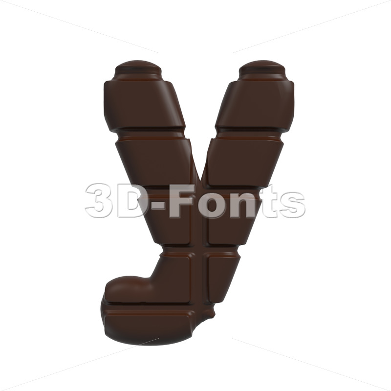 Lowercase chocolate character Y – Small 3d letter