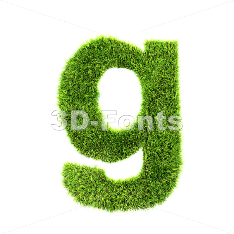 Lowercase green grass font G – Small 3d character