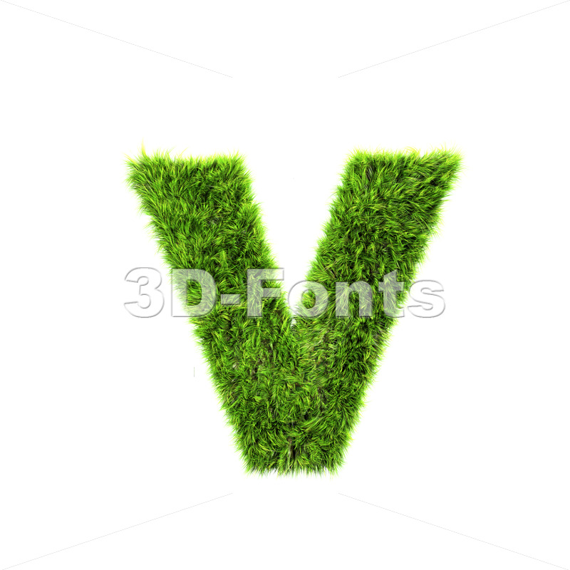 Lowercase green grass font V – Small 3d letter