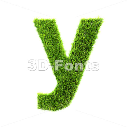 Lowercase green herb character Y – Small 3d letter