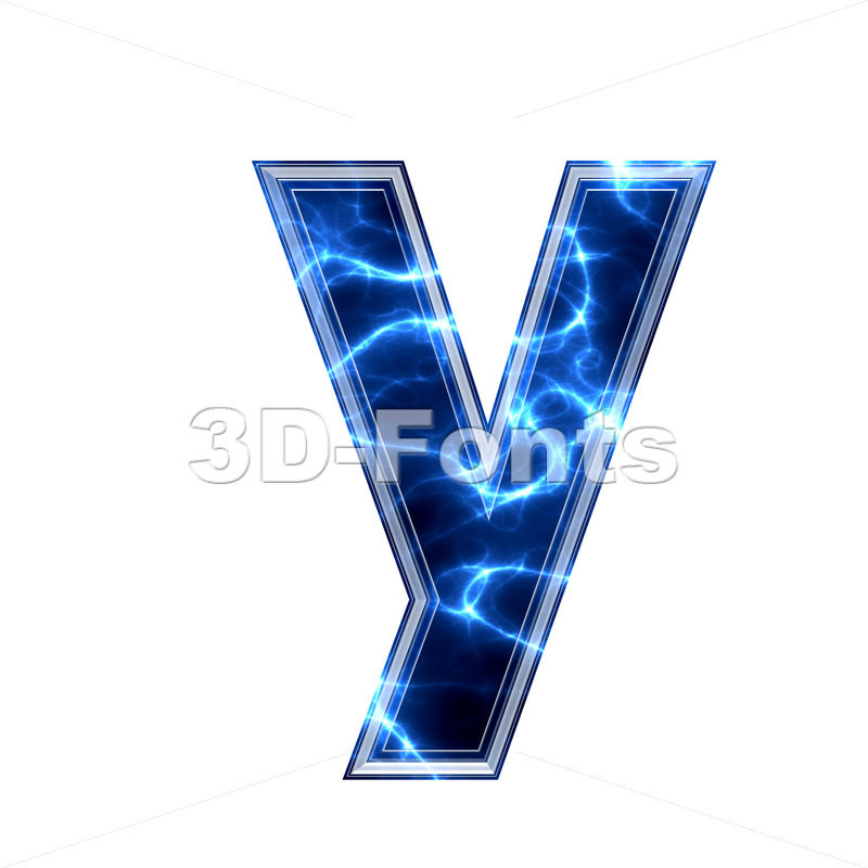 Lowercase lightning character Y - Small 3d letter - 3d-fonts.com