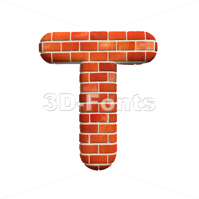 Red brick character T – Uppercase 3d letter