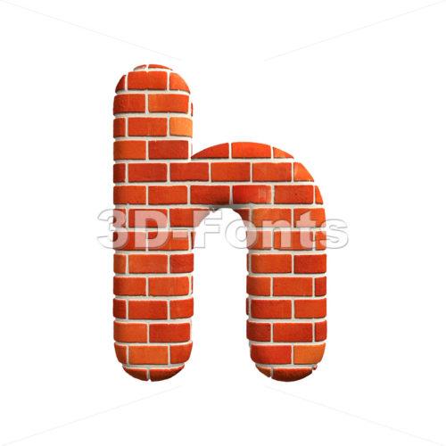 Red brick font H – Lower-case 3d letter