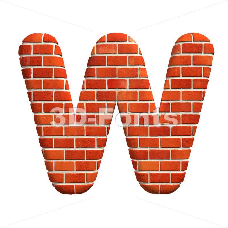 Red brick font W – Capital 3d letter