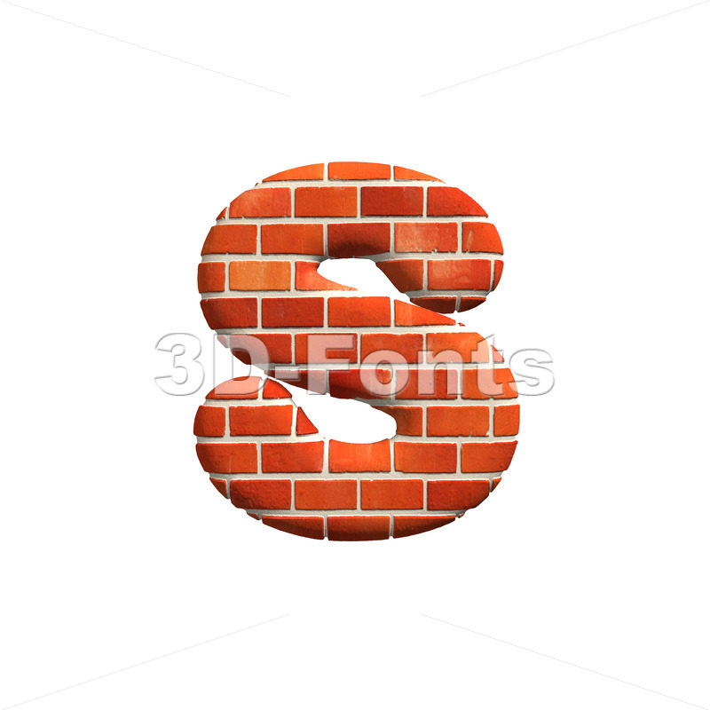Red brick letter S – Lowercase 3d font