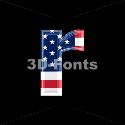 Small American flag character R – Lower-case 3d letter