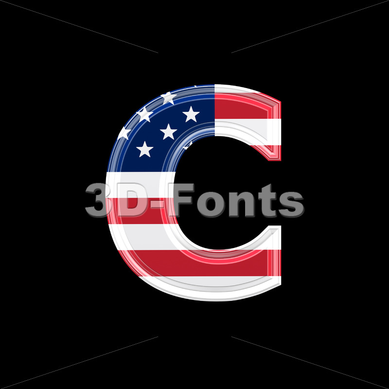 Small American flag font C – Lowercase 3d character