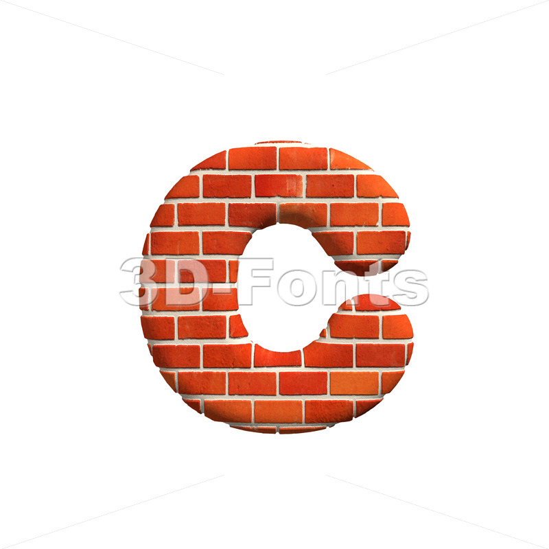 Small Brick wall font C – Lowercase 3d character