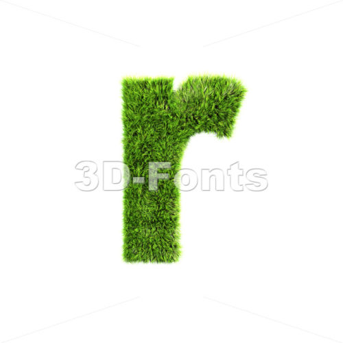 Small green grass character R – Lower-case 3d letter
