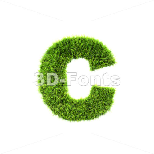 Small green grass font C – Lowercase 3d character