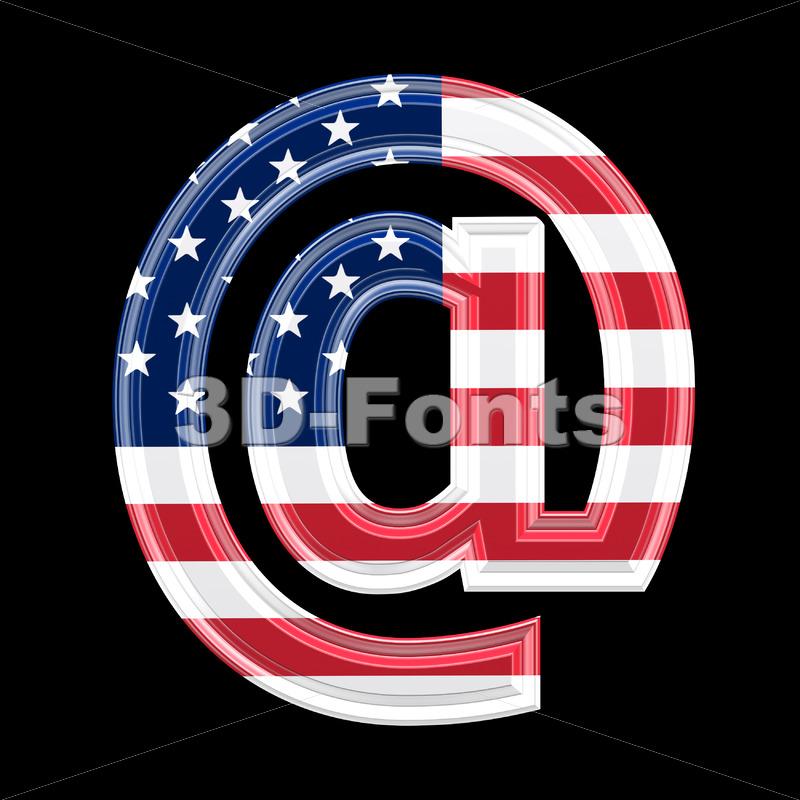 US at-sign – 3d arobase symbol