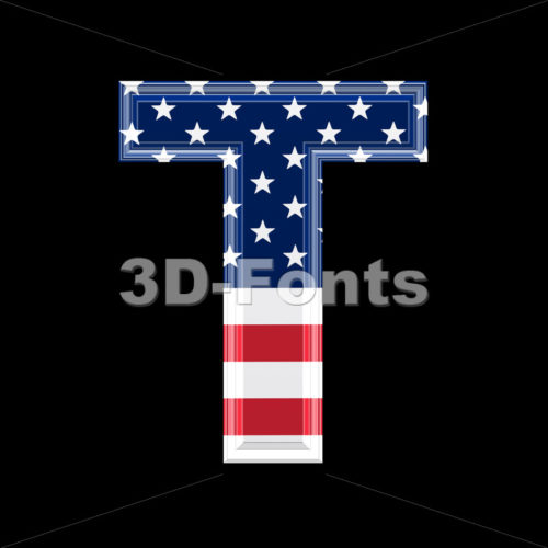 US character T – Uppercase 3d letter