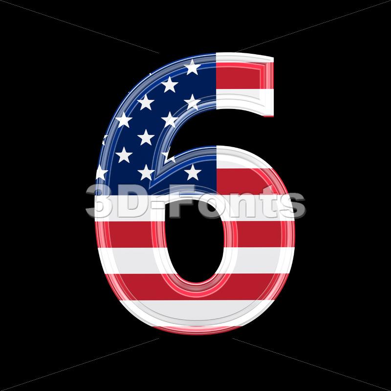 US digit 6 – 3d number