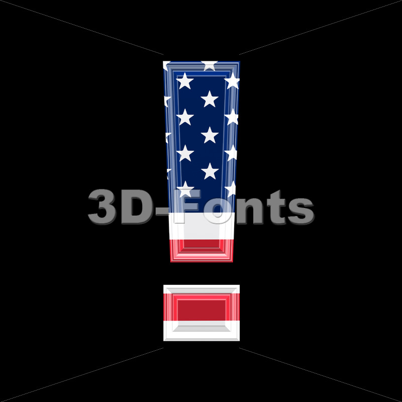 US exclamation point – 3d symbol
