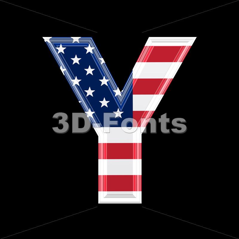 Upper-case American flag font Y – Capital 3d character