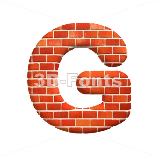 Upper-case Brick character G – Capital 3d font