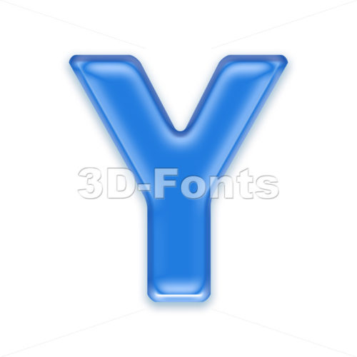 Upper-case blue jelly font Y – Capital 3d character