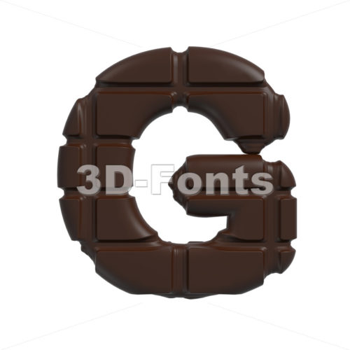 Upper-case chocolate character G – Capital 3d font
