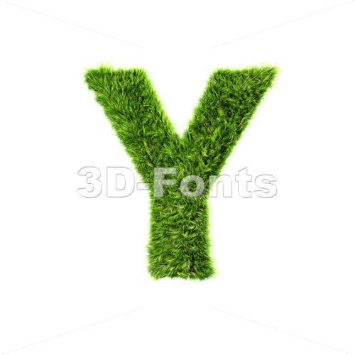 Upper-case green grass font Y – Capital 3d character